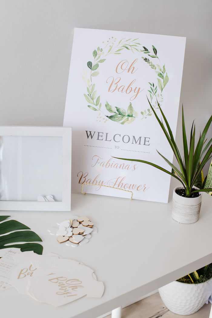 Oh Baby Welcome Sign from a Tropical Chic Baby Shower on Kara's Party Ideas | KarasPartyIdeas.com (25)