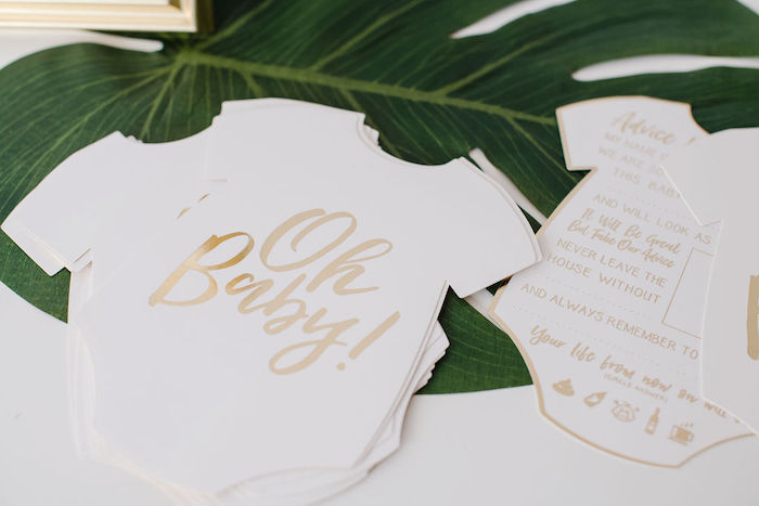 Oh Baby Onesie Note Cards from a Tropical Chic Baby Shower on Kara's Party Ideas | KarasPartyIdeas.com (24)