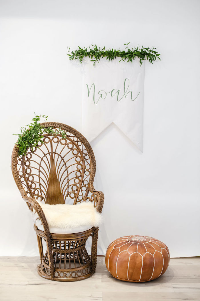 Mom-to-Be Chair from a Tropical Chic Baby Shower on Kara's Party Ideas | KarasPartyIdeas.com (22)