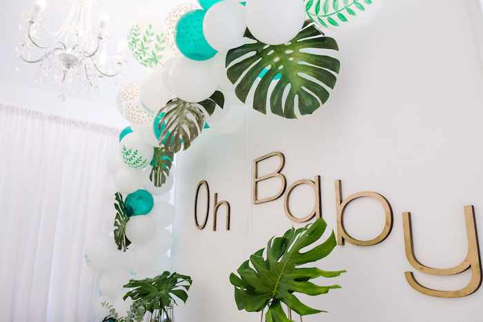 Tropical Balloon Garland + Oh Baby Backdrop from a Tropical Chic Baby Shower on Kara's Party Ideas | KarasPartyIdeas.com (8)