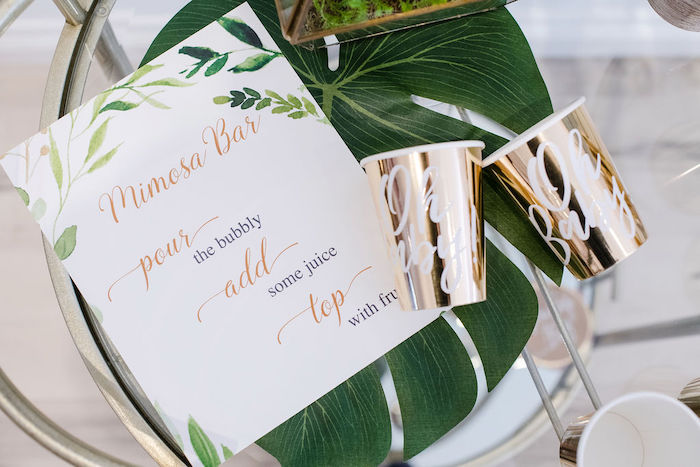 Tropical Mimosa Bar Signage from a Tropical Chic Baby Shower on Kara's Party Ideas | KarasPartyIdeas.com (39)