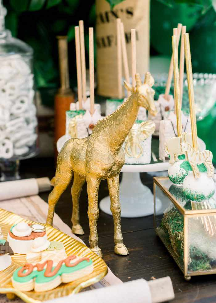 Gold Giraffe - Dessert Table Prop from a Tropical Safari Birthday Party on Kara's Party Ideas | KarasPartyIdeas.com (20)