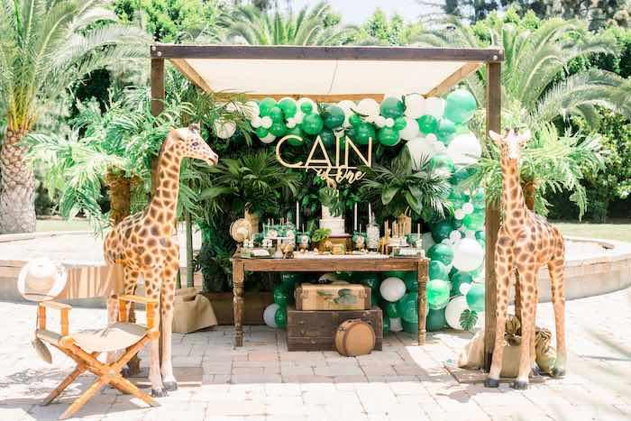 Safari Themed Sweet Table from a Tropical Safari Birthday Party on Kara's Party Ideas | KarasPartyIdeas.com (19)