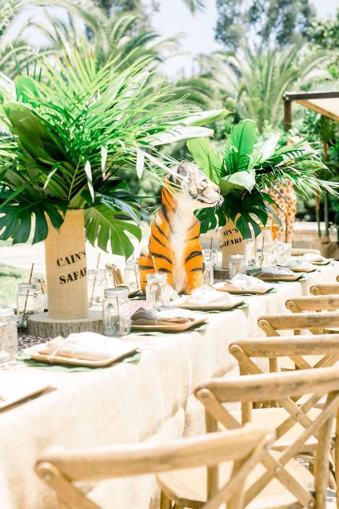 Jungle/Safari Themed Guest Table from a Tropical Safari Birthday Party on Kara's Party Ideas | KarasPartyIdeas.com (17)