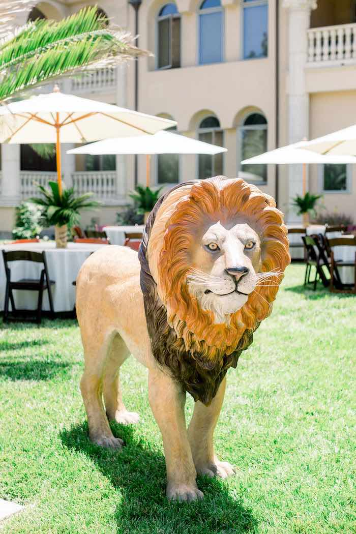 Giant Lion Prop from a Tropical Safari Birthday Party on Kara's Party Ideas | KarasPartyIdeas.com (16)