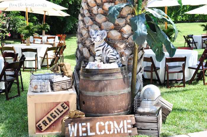 Wood Crate and Barrel + Welcome Decor from a Tropical Safari Birthday Party on Kara's Party Ideas | KarasPartyIdeas.com (34)