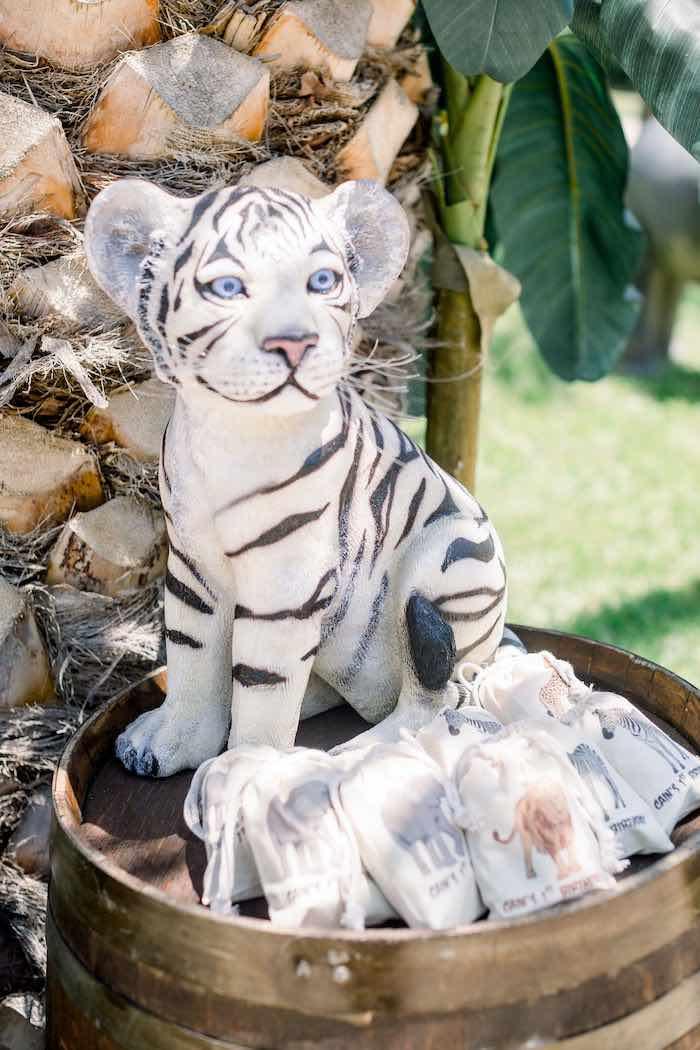 White Tiger Prop + Drawstring Favor Sacks from a Tropical Safari Birthday Party on Kara's Party Ideas | KarasPartyIdeas.com (15)