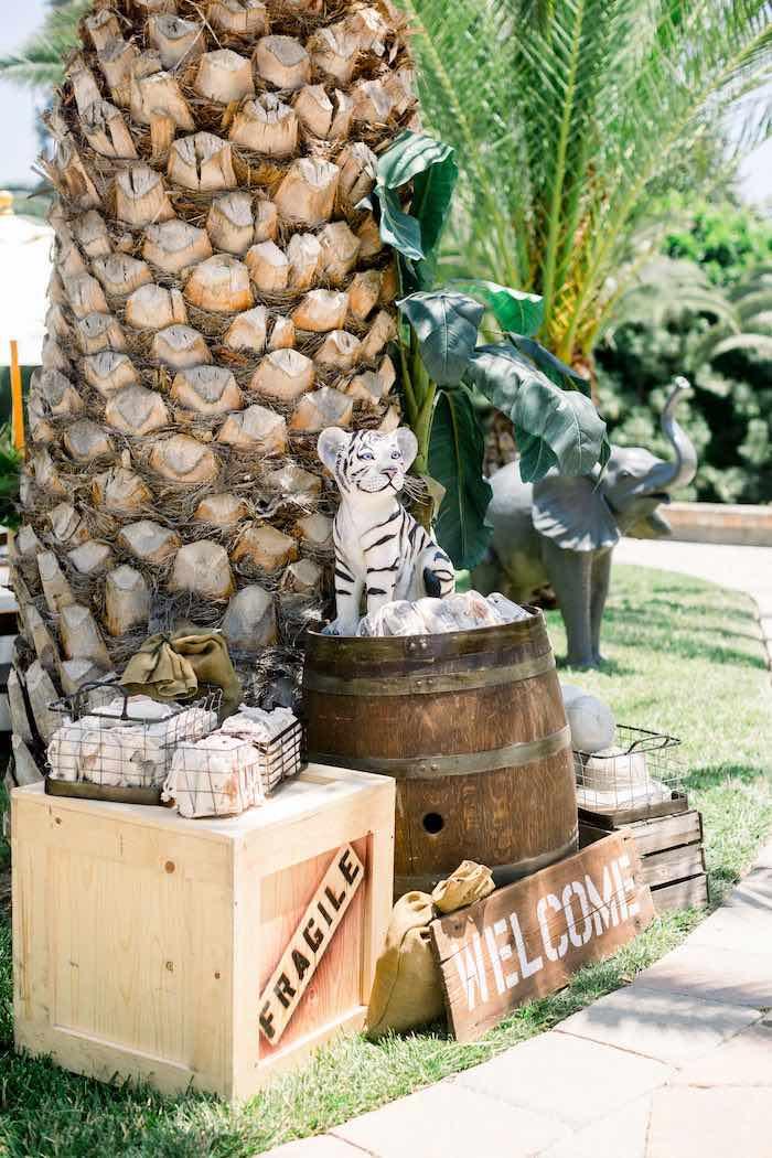 Welcome Decor from a Tropical Safari Birthday Party on Kara's Party Ideas | KarasPartyIdeas.com (14)