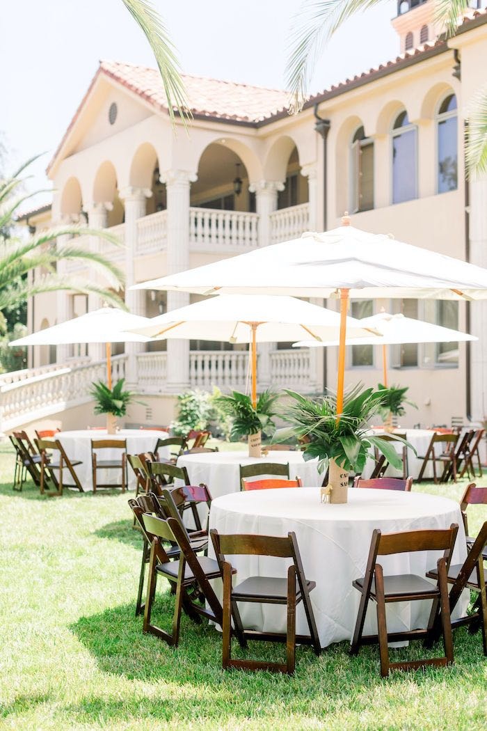 White Guest Tables with Umbrella's from a Tropical Safari Birthday Party on Kara's Party Ideas | KarasPartyIdeas.com (12)