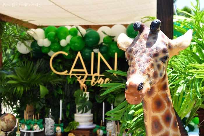 Giraffe Prop from a Tropical Safari Birthday Party on Kara's Party Ideas | KarasPartyIdeas.com (31)