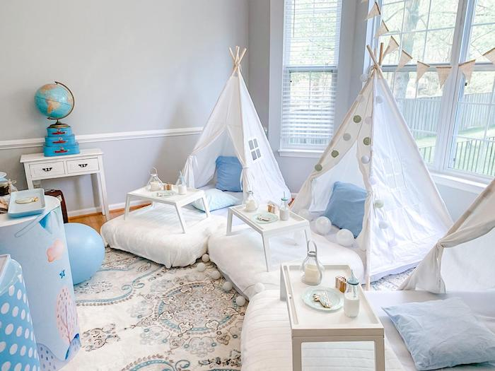 Sleepover Tent Lounge from a Vintage Travel + Airplane Birthday Party on Kara's Party Ideas | KarasPartyIdeas.com (9)