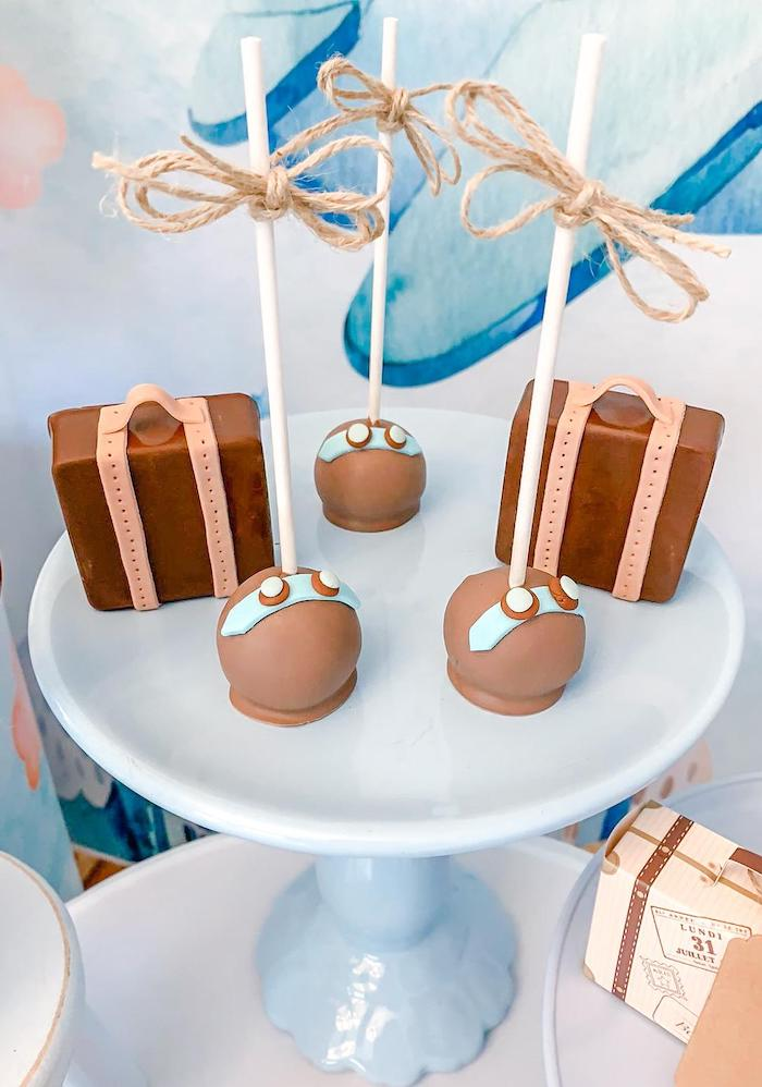 Vintage Aviator Cake Pops + Suitcase Sweets from a Vintage Travel + Airplane Birthday Party on Kara's Party Ideas | KarasPartyIdeas.com (8)