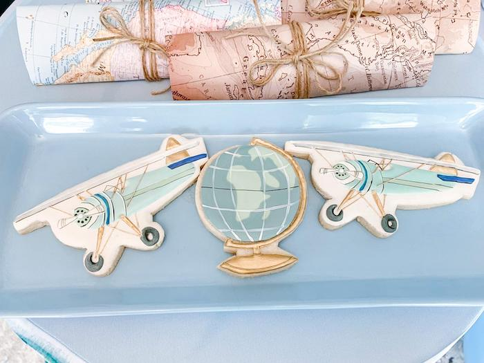 Vintage Airplane + Globe Cookies from a Vintage Travel + Airplane Birthday Party on Kara's Party Ideas | KarasPartyIdeas.com (4)