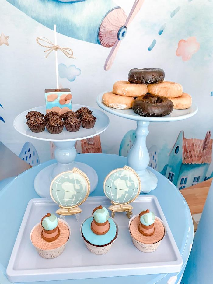 Travel-inspired Sweets from a Vintage Travel + Airplane Birthday Party on Kara's Party Ideas | KarasPartyIdeas.com (3)