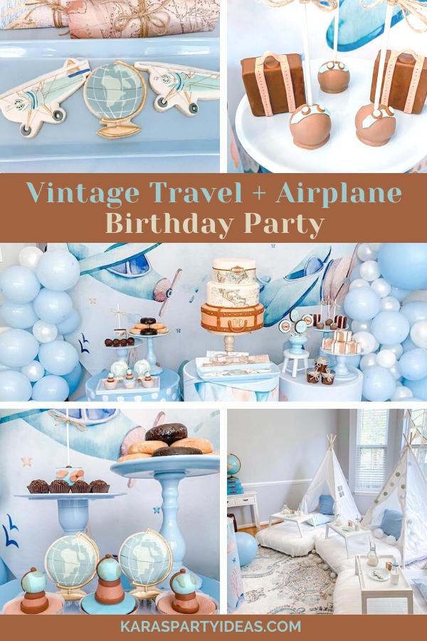 Vintage Travel + Airplane Birthday Party via Kara's Party Ideas - KarasPartyIdeas.com