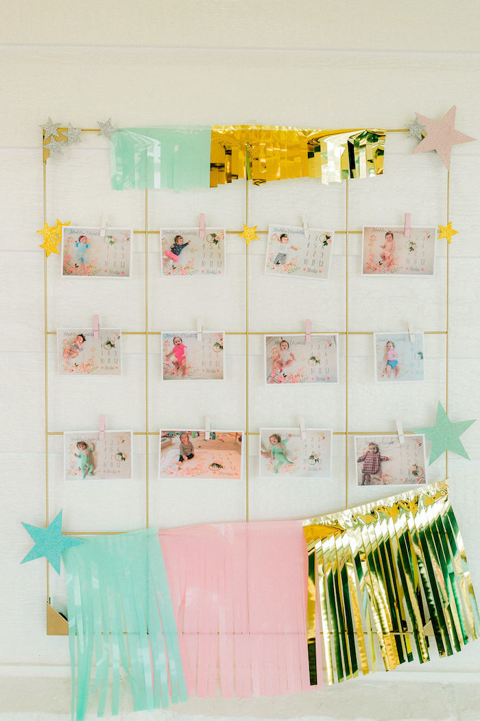 First Year Photo Wall from a Wonder Woman Inspired 1st Birthday Party on Kara's Party Ideas   KarasPartyIdeas.com (41)