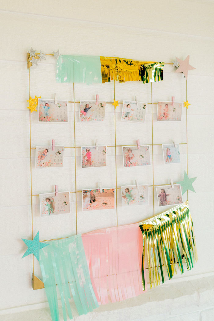First Year Photo Wall from a Wonder Woman Inspired 1st Birthday Party on Kara's Party Ideas   KarasPartyIdeas.com (40)