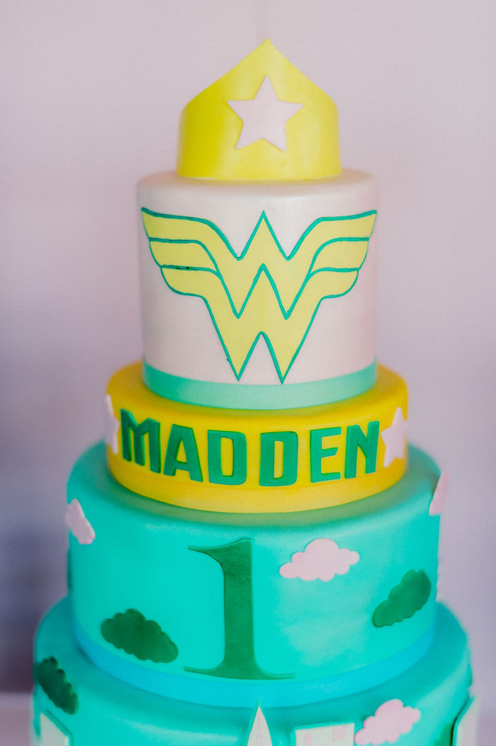 Wonder Woman Cake from a Wonder Woman Inspired 1st Birthday Party on Kara's Party Ideas   KarasPartyIdeas.com (37)