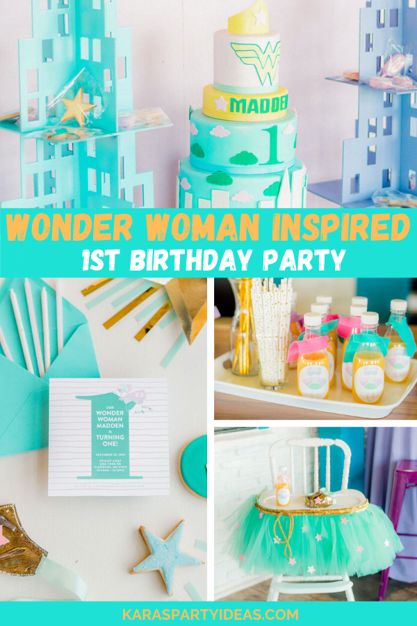 Wonder Woman Inspired 1st Birthday Party via Kara's Party Ideas - KarasPartyIdeas.com