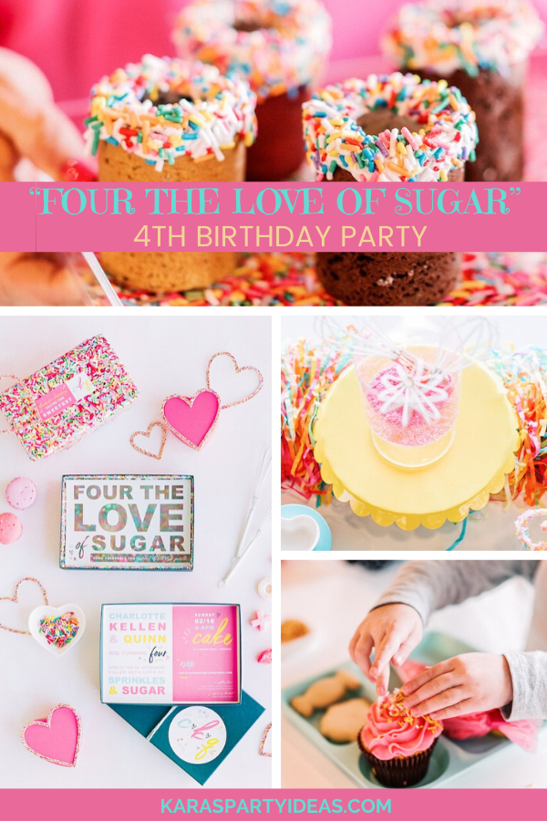 """FOUR the Love of Sugar"" 4th Birthday Party via Kara's Party Ideas - KarasPartyIdeas.com"