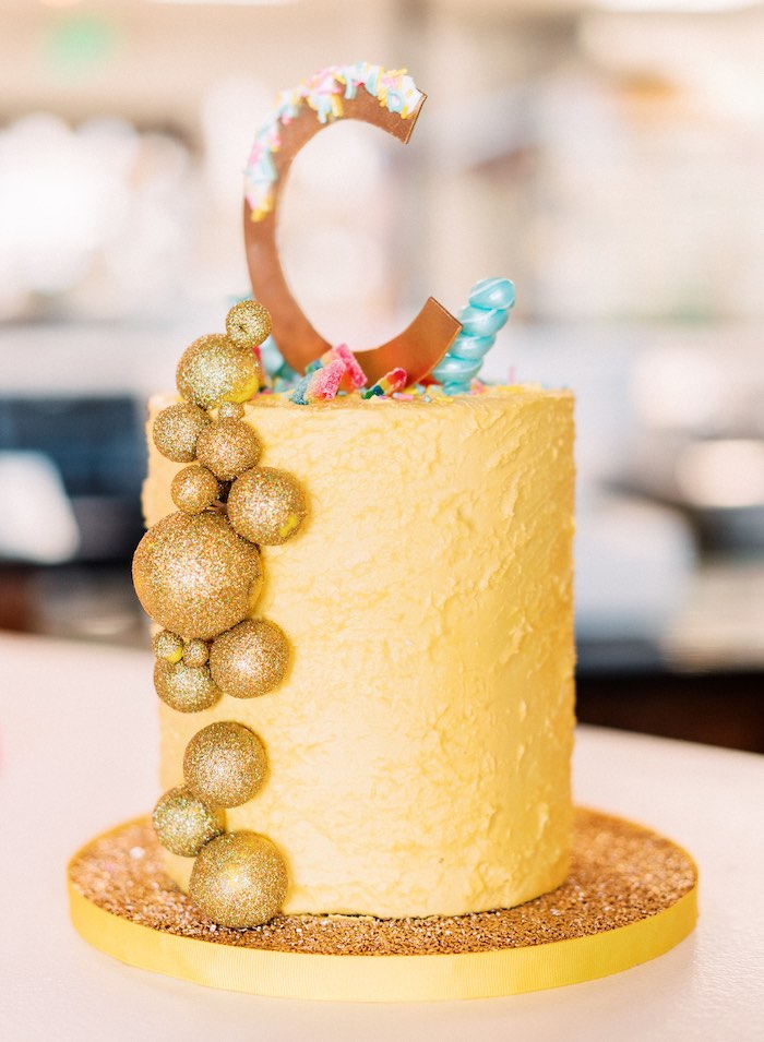 "Gold Baking-inspired Cake from a ""FOUR the Love of Sugar"" 4th Birthday Party on Kara's Party Ideas 