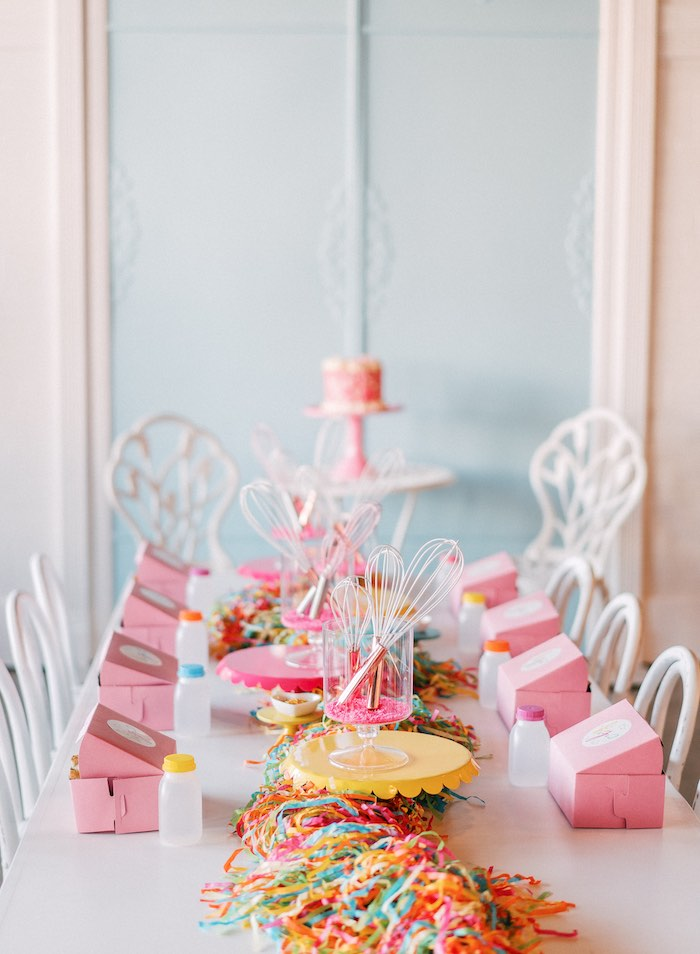 "Kid Table from a ""FOUR the Love of Sugar"" 4th Birthday Party on Kara's Party Ideas 