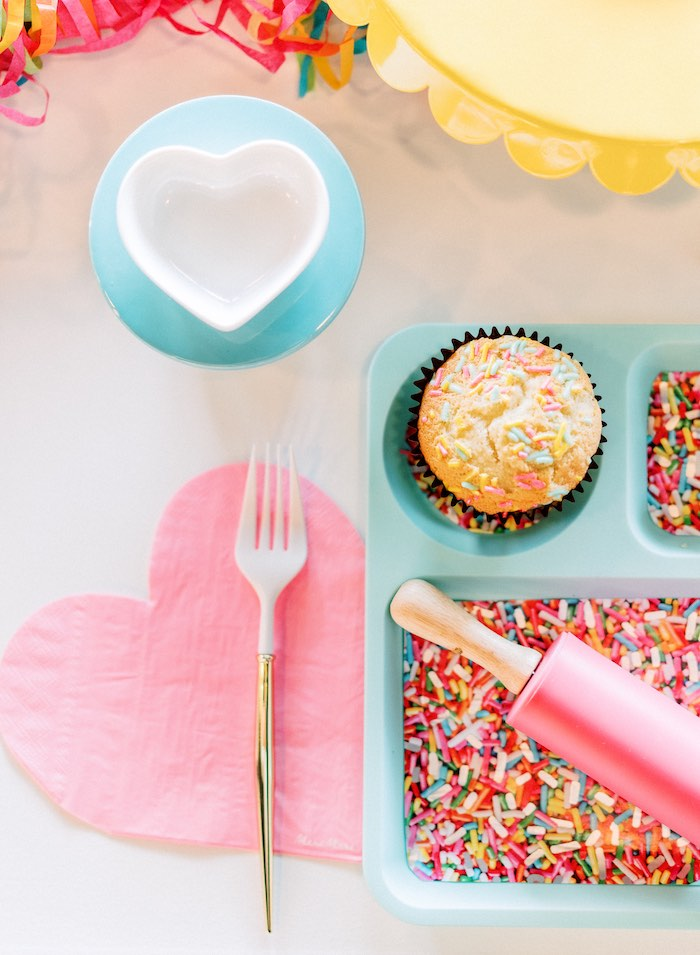 "Kid Table Setting from a ""FOUR the Love of Sugar"" 4th Birthday Party on Kara's Party Ideas 