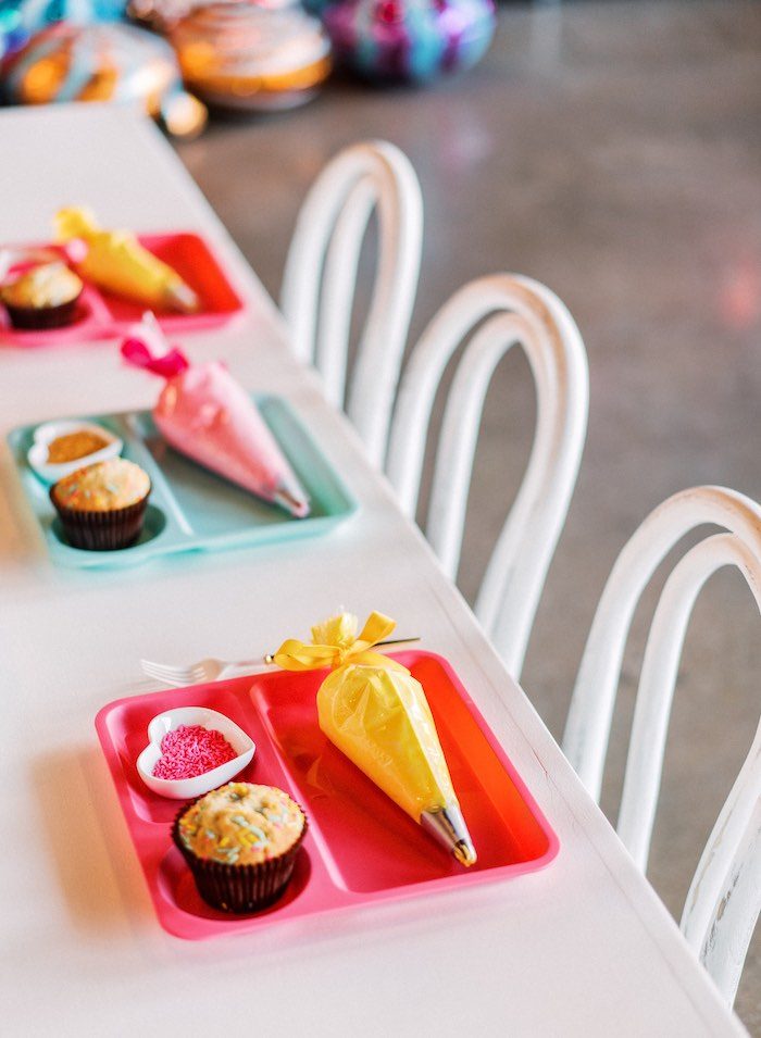 "Decorating Trays + Table Settings from a ""FOUR the Love of Sugar"" 4th Birthday Party on Kara's Party Ideas 