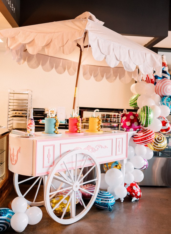 "Cake Cart from a ""FOUR the Love of Sugar"" 4th Birthday Party on Kara's Party Ideas 