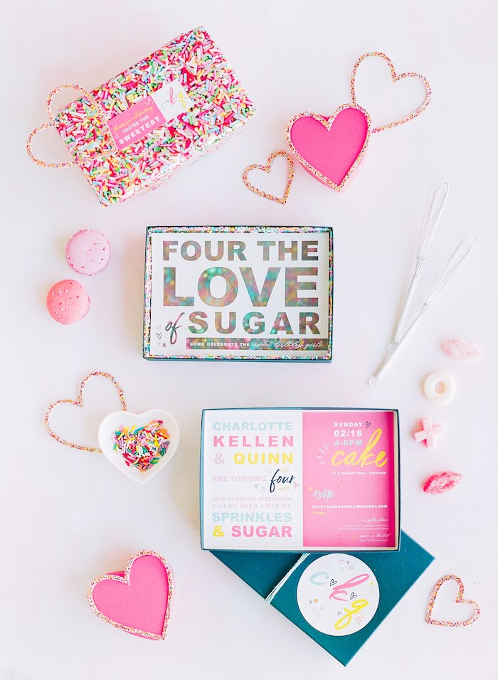 "Signage + Decor from a ""FOUR the Love of Sugar"" 4th Birthday Party on Kara's Party Ideas 
