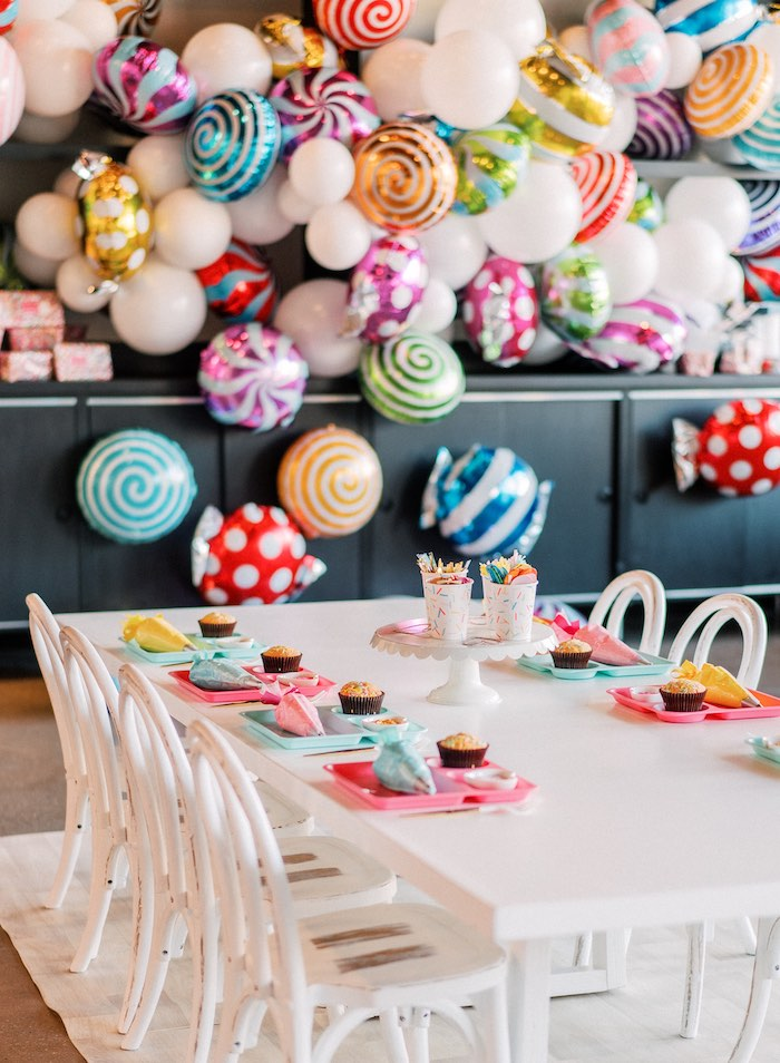 "Decorating Station from a ""FOUR the Love of Sugar"" 4th Birthday Party on Kara's Party Ideas 