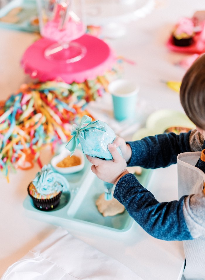 "Cupcake & Cookie Decorating from a ""FOUR the Love of Sugar"" 4th Birthday Party on Kara's Party Ideas 