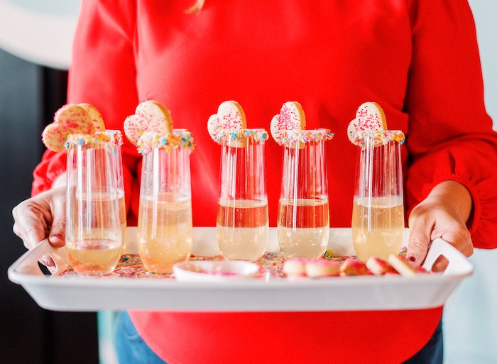 "Sprinkle Drinks from a ""FOUR the Love of Sugar"" 4th Birthday Party on Kara's Party Ideas 