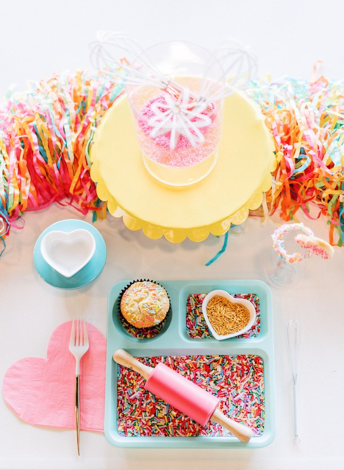 "Baking + Decorating Themed Table Setting from a ""FOUR the Love of Sugar"" 4th Birthday Party on Kara's Party Ideas 
