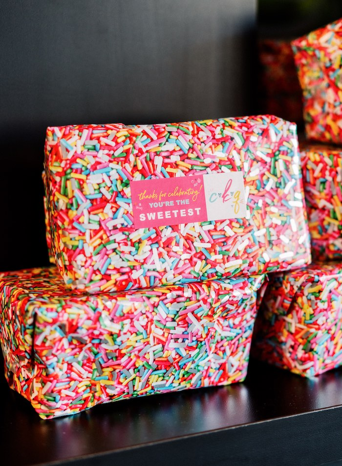"Sprinkle Paper-wrapped Favors from a ""FOUR the Love of Sugar"" 4th Birthday Party on Kara's Party Ideas 