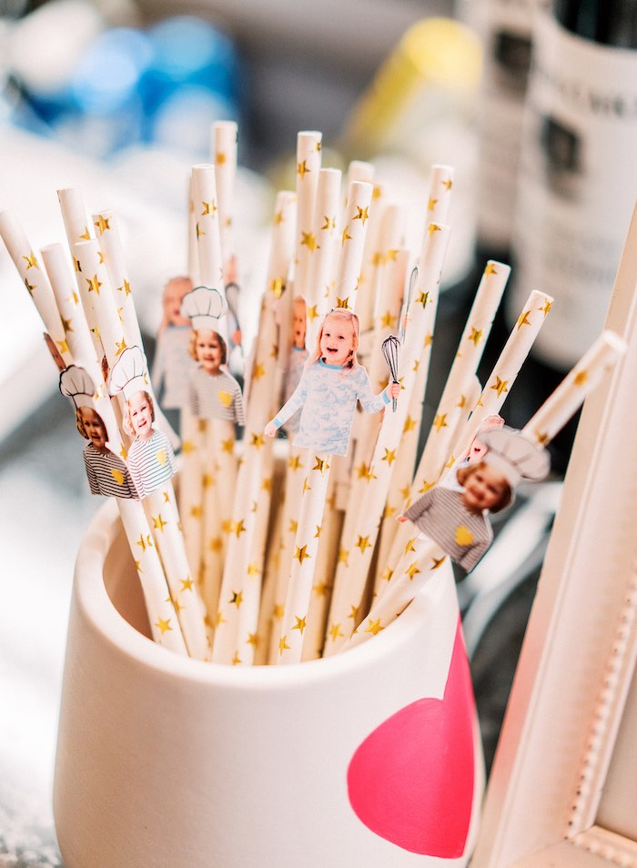 "Custom Photo Straw Toppers from a ""FOUR the Love of Sugar"" 4th Birthday Party on Kara's Party Ideas 