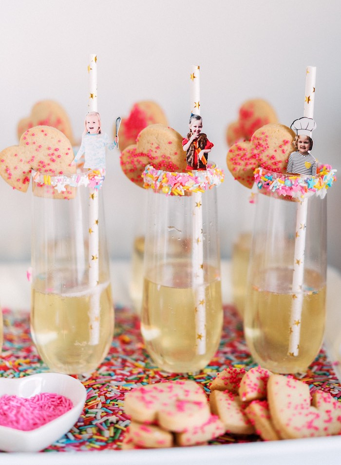 "Sprinkle-rimmed + Cookie-topped Glasses from a ""FOUR the Love of Sugar"" 4th Birthday Party on Kara's Party Ideas 