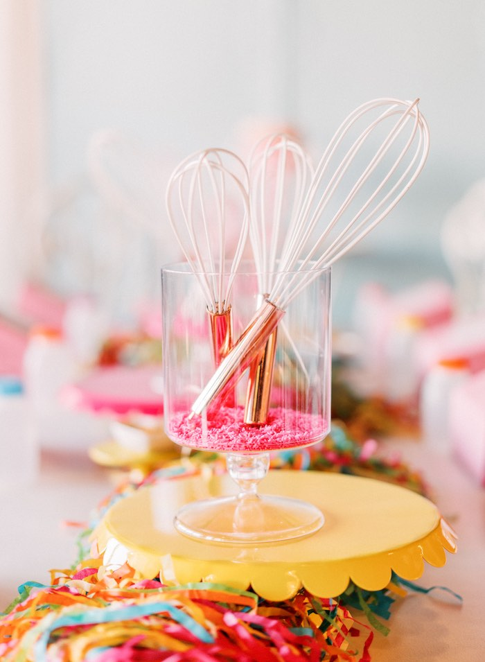 "Sprinkle & Whisk Table Centerpiece from a ""FOUR the Love of Sugar"" 4th Birthday Party on Kara's Party Ideas 