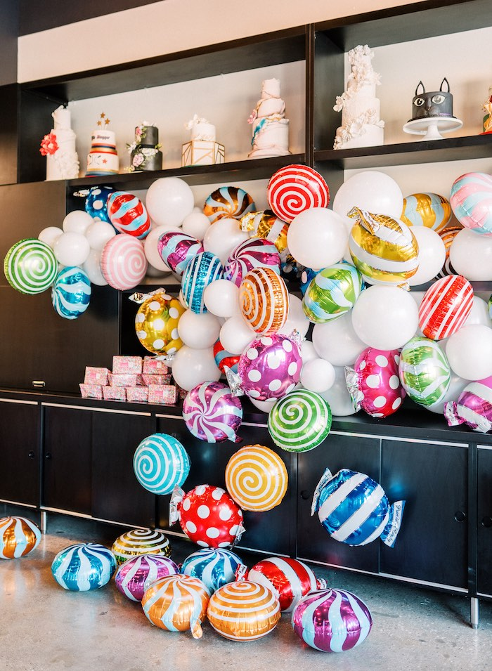 "Balloon Install from a ""FOUR the Love of Sugar"" 4th Birthday Party on Kara's Party Ideas 