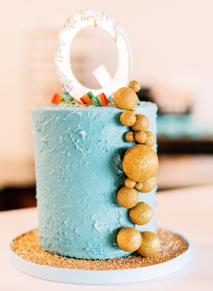"Blue & Gold Baking-inspired Cake from a ""FOUR the Love of Sugar"" 4th Birthday Party on Kara's Party Ideas 