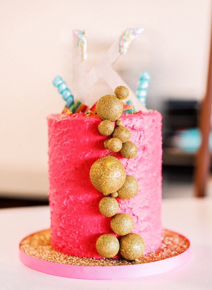 "Pink & Gold Baking-inspired Cake from a ""FOUR the Love of Sugar"" 4th Birthday Party on Kara's Party Ideas 