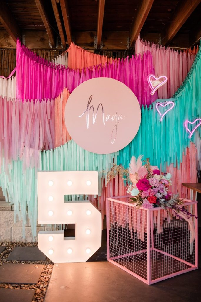 """Marquee & Tassel Banner Backdrop from an """"I'm Sassy and I know it"""" Girly Glam 5th Birthday Party on Kara's Party Ideas   KarasPartyIdeas.com (26)"""