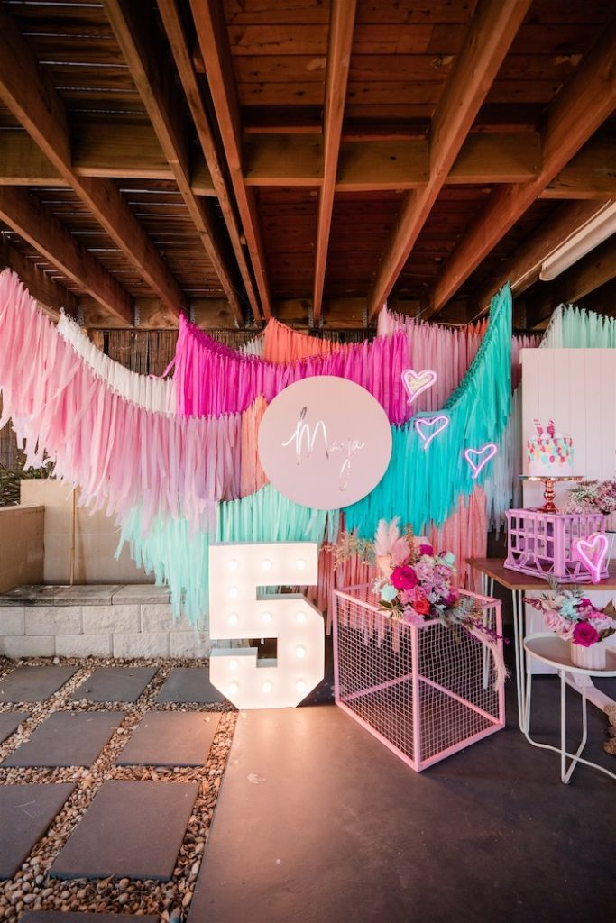 """Marquee & Tassel Banner Backdrop from an """"I'm Sassy and I know it"""" Girly Glam 5th Birthday Party on Kara's Party Ideas   KarasPartyIdeas.com (25)"""