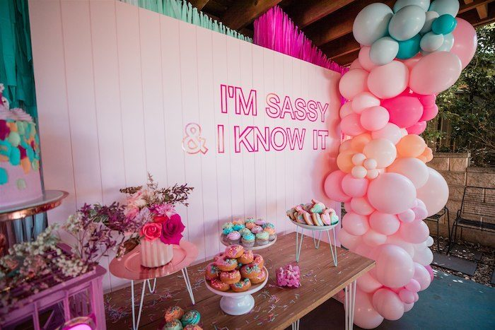 """Sassy Dessert Table from an """"I'm Sassy and I know it"""" Girly Glam 5th Birthday Party on Kara's Party Ideas   KarasPartyIdeas.com (22)"""