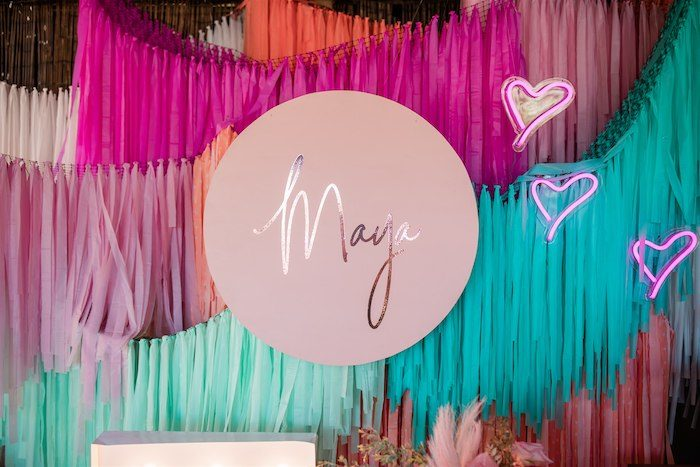 """Rainbow Tassel Banner Backdrop from an """"I'm Sassy and I know it"""" Girly Glam 5th Birthday Party on Kara's Party Ideas   KarasPartyIdeas.com (14)"""