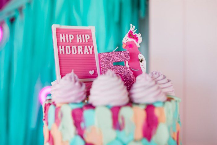 """Hip Hip Hooray Cake Top from an """"I'm Sassy and I know it"""" Girly Glam 5th Birthday Party on Kara's Party Ideas   KarasPartyIdeas.com (12)"""