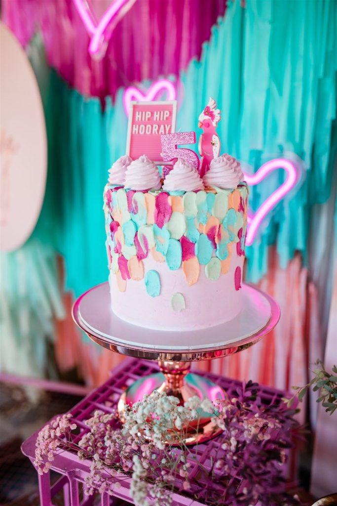 "Hip Hip Hooray Splatter Cake from an ""I'm Sassy and I know it"" Girly Glam 5th Birthday Party on Kara's Party Ideas   KarasPartyIdeas.com (11)"