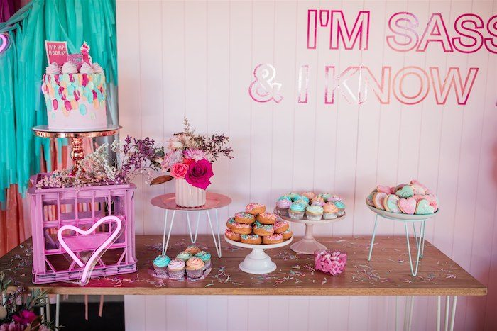 """Dessert Table from an """"I'm Sassy and I know it"""" Girly Glam 5th Birthday Party on Kara's Party Ideas   KarasPartyIdeas.com (10)"""