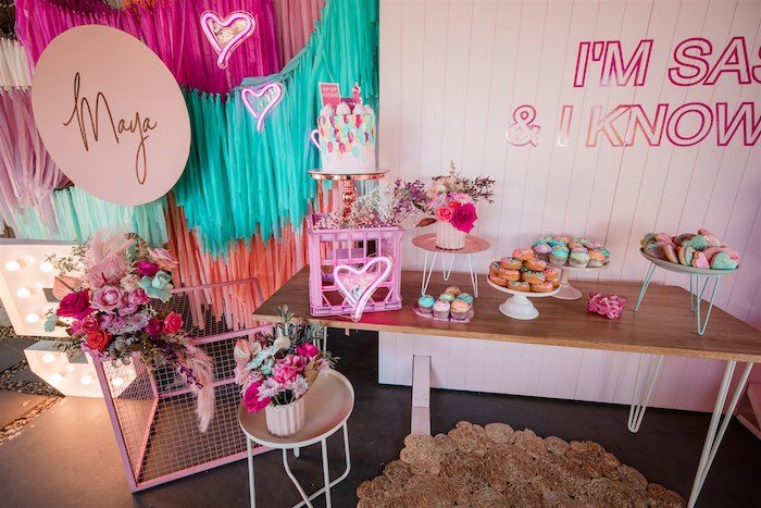 """Dessert Table from an """"I'm Sassy and I know it"""" Girly Glam 5th Birthday Party on Kara's Party Ideas   KarasPartyIdeas.com (9)"""
