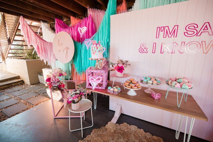 """Dessert Table from an """"I'm Sassy and I know it"""" Girly Glam 5th Birthday Party on Kara's Party Ideas   KarasPartyIdeas.com (8)"""